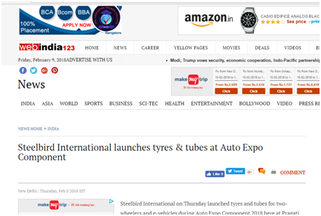 Steelbird International Launches Tyres and Tubes at Auto Expo Component
