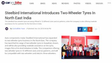 Steelbird International Introduces Two- Wheeler Tyres In North East India