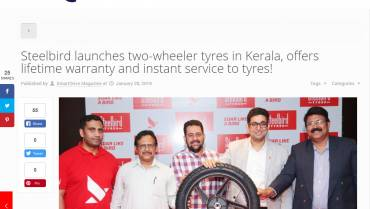 Steelbird launches two-wheeler tyres in Kerala, offers lifetime warranty and instant service to tyres!