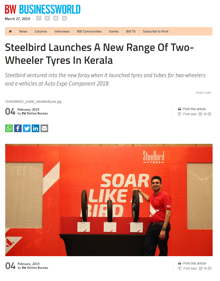 Steelbird Launches A New Range Of Two-Wheeler Tyres In Kerala