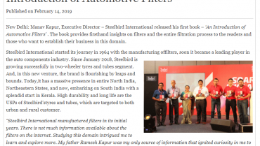 Manav Kapur Releases His First Book –'An Introduction Of Automotive Filters'