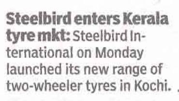 Steelbird Enters Kerala Tyre Mkt