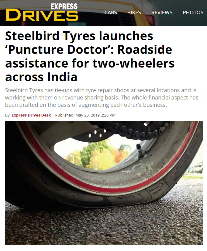 Steelbird Tyres launches 'Puncture Doctor': Roadside assistance for two wheelers across India