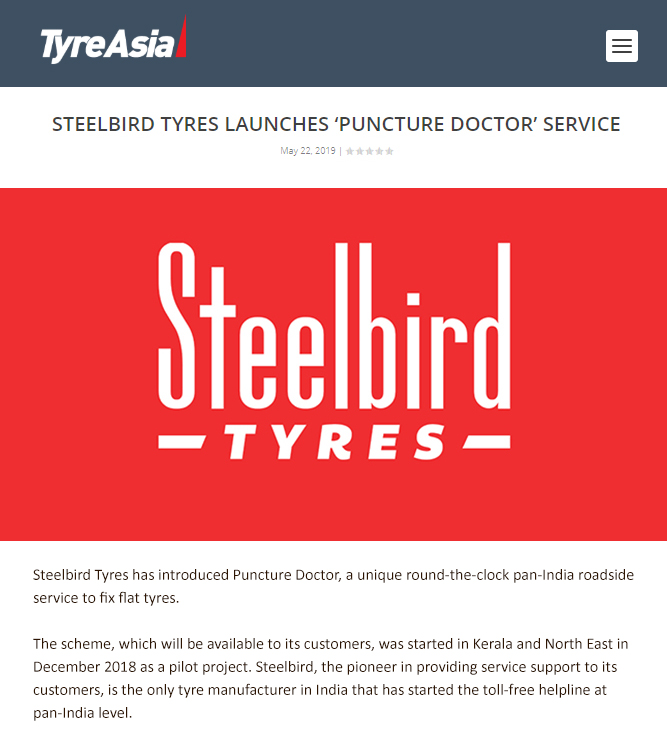 Steelbird Tyres Launches 'Puncture Doctor' Service