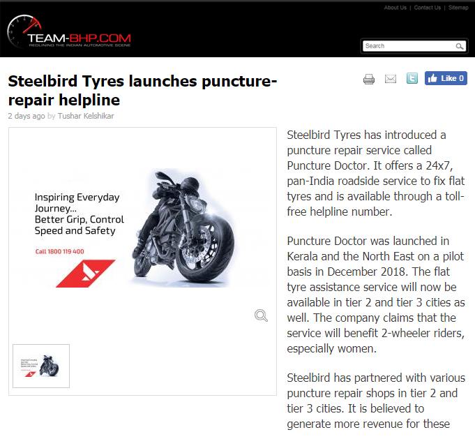 Steelbird Tyres launches puncture-repair helpline