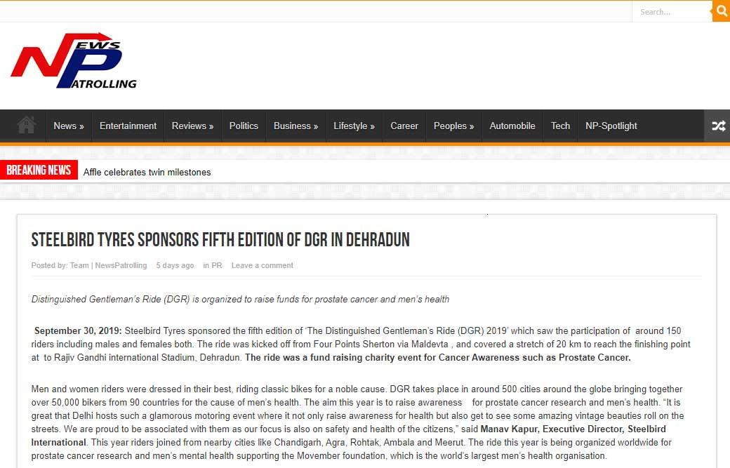 Steelbird Tyres Sponsors Fifth Edition Of DGR In Dehradun